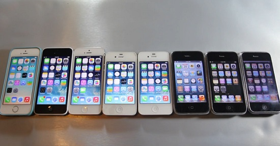 Test de rapidité : iPhone 5S vs 5C vs 5 vs 4S vs 4 vs 3Gs vs 3G vs 2G (VIDEO)