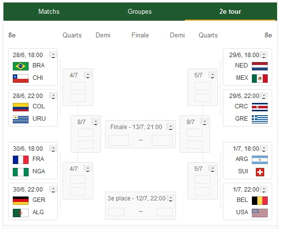 Coupe du monde 2014 affiches et calendrier des 8emes de - Tableau phase finale coupe du monde 2014 ...