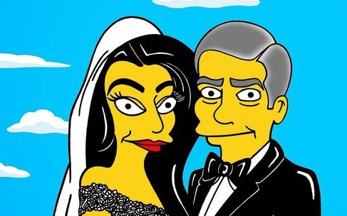 Le mariage de George Clooney et Amal Alamuddin version Simpson (photos)