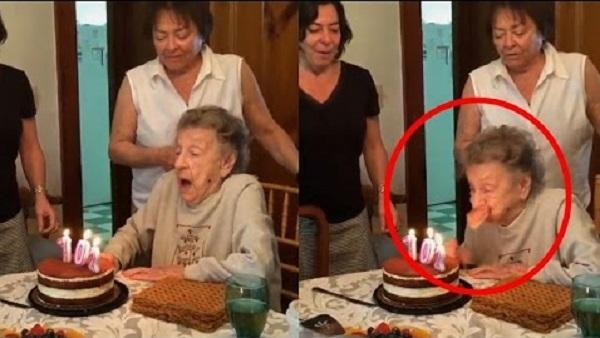 Une mamie de 102 ans souffle ses bougies d'anniversaire quand…