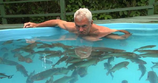 Il se baigne dans une piscine remplie de piranhas