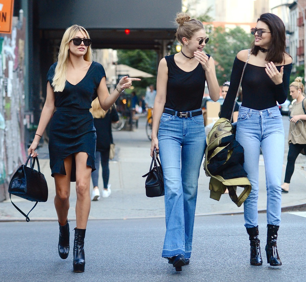 Kendall Jenner Wears See Through Shirt While Out In NYC With Gigi Hadid & Hailey Baldwin