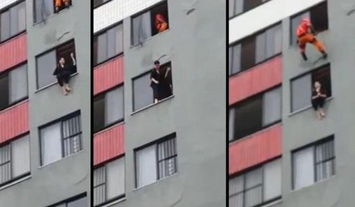 Un pompier tente le tout pour le tout pour sauver une femme suicidaire